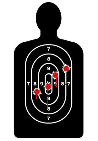 fbi: A human outline target as used in shooting galleries but with blooded bullet holes