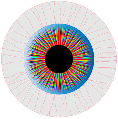 bloodshot: A multicoloured eye isolated over a white