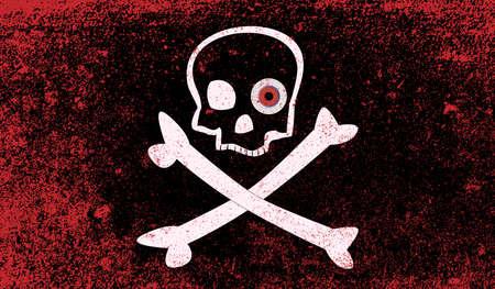 plundering: Een typische schedel en gekruiste piraat vesel vlag met bloeddoorlopen ogen