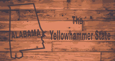 Alabama state map brand on wooden boards with map outline and state nickname