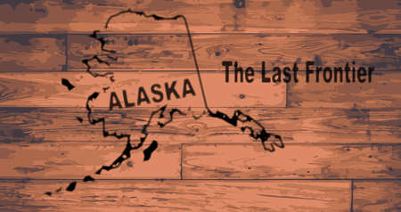 frontier: Alaska state map brand on wooden boards with map outline