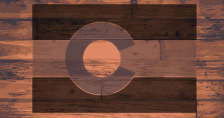 colorado flag: Colorado State Flag branded onto wooden planks