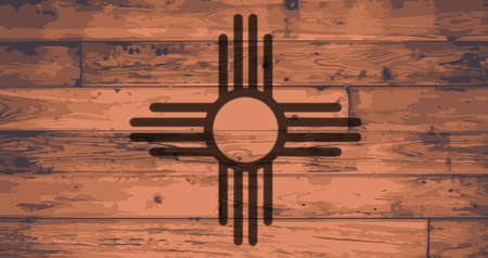 New Mexico State Flag branded onto wooden planks Illustration