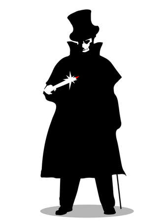A Jack the Ripper silhouette over a white background Ilustracja