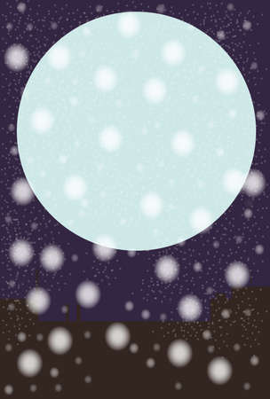 snowing: A snowing background with a blue full moon