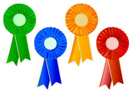 rosettes: 4 different coloured rosettes over a white background