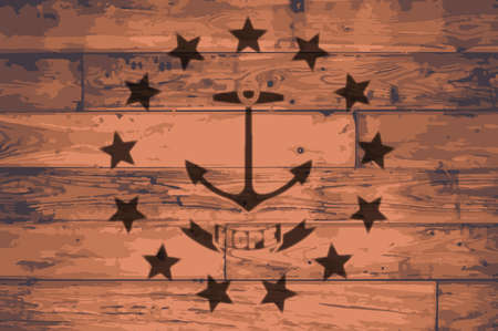 Rhode Island State flag outline brand on wooden board