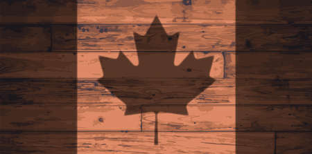 floorboards: Canada flag outline brand on wooden board