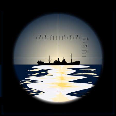 Submarine vue périscope d'un navire de transport