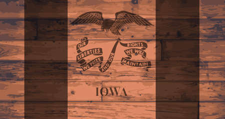 BRANDED: Iowa State Flag branded onto wooden planks