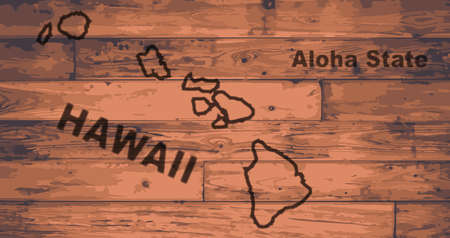 Hawaii state map brand on wooden boards with map outline and state moto