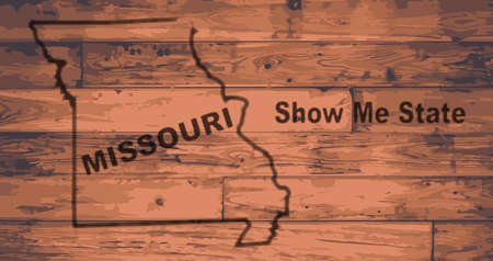 Missouri state map brand on wooden boards with map outline and state moto show me state Illustration