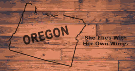 Oregon state map brand on wooden boards with map outline and state moto Illustration