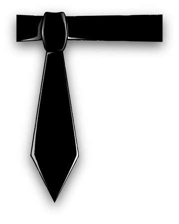 black tie: A black tie set on a white blue background.