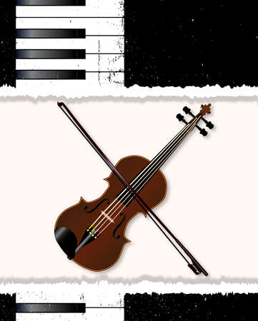 forte: Black and white piano keys and fiddle  with a grunge jazz FX and a copy space tear.