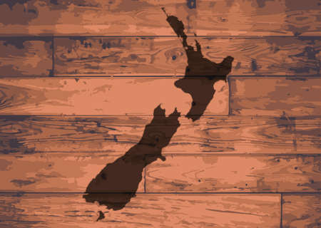 brand new: New Zealand outline map brand on wooden board