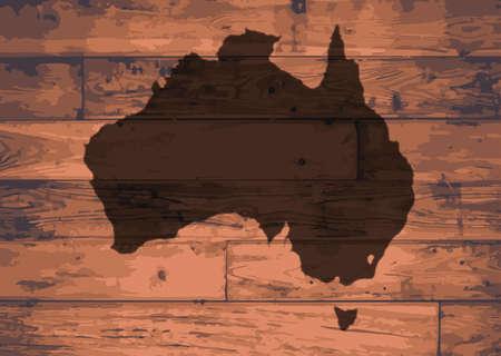 woodgrain: Australia outline map brand on wooden board Illustration