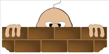 peering: A cartoon man looking over a brick wall over white
