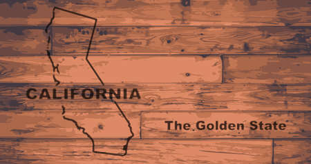 California state map brand on wooden boards with map outline and state moto