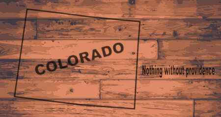 woodgrain: Colorado state map brand on wooden boards with map outline and state moto Illustration
