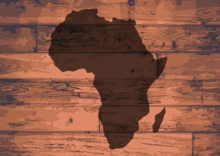 woodgrain: Africa outline map brand on wooden board
