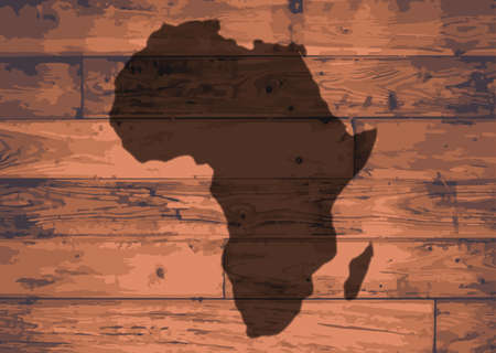 Africa outline map brand on wooden board