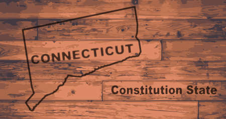motto: Connecticut state map brand on wooden boards with map outline and state motto