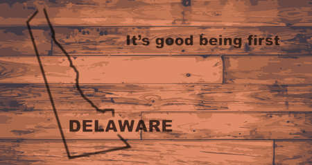 motto: Delaware state map brand on wooden boards with map outline and state motto Illustration
