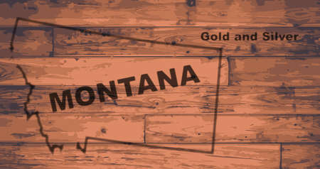 Montana state map brand on wooden boards with map outline and state motto Illustration