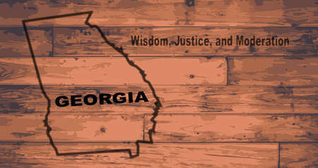 motto: Georgia state map brand on wooden boards with map outline and state motto Illustration