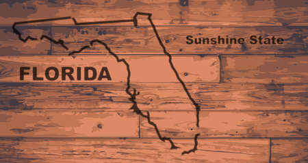 motto: Florida state map brand on wooden boards with map outline and state motto Illustration