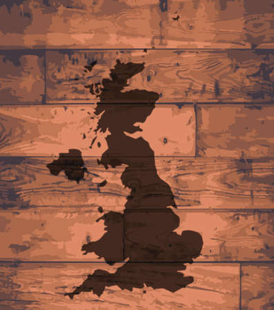 british isles: UK outline map brand on wooden board Illustration
