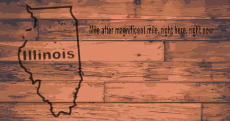 motto: Illinois state map brand on wooden boards with map outline and state motto