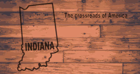 motto: Indiana state map brand on wooden boards with map outline and state motto