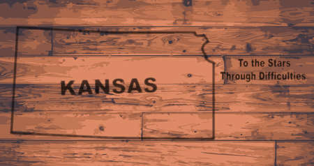 motto: Kansas state map brand on wooden boards with map outline and state motto Illustration