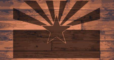 woodgrain: Arizona State Flag branded onto wooden planks