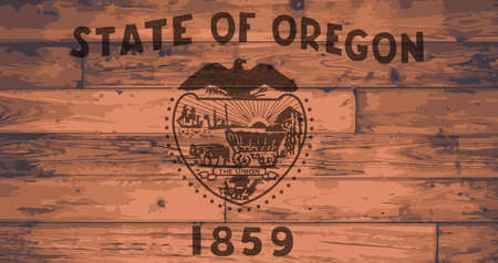 oregon: Oregon State Flag branded onto wooden planks Illustration