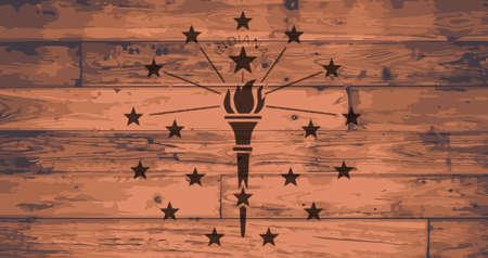 floorboards: Indiana State Flag branded onto wooden planks Illustration