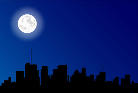 City outline in black under a full moon and dark blue sky Illustration