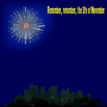 guy fawkes night: Un cielo unico rovkey esplodono in una citt� del Regno Unito durante la notte.