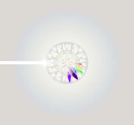A diamond with several rays from reflected light forming a spectrum