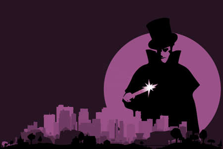 ripper: Jack the Ripper hovering over a purple cityscape with a full moon. Illustration