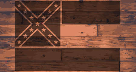 mississippi: Mississippi State Flag branded onto wooden planks