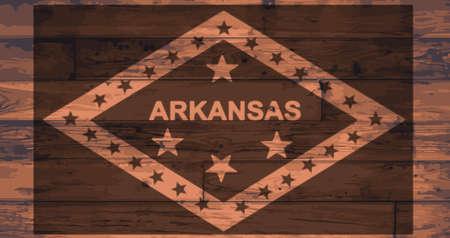 onto: Arkansas State Flag branded onto wooden planks Illustration