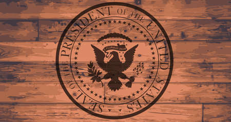 Presidential Seal Branded onto a set of wooden planks