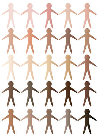 paper cutout: A collection of paper cutout men holding hands made from a variety od skin tone colours Illustration