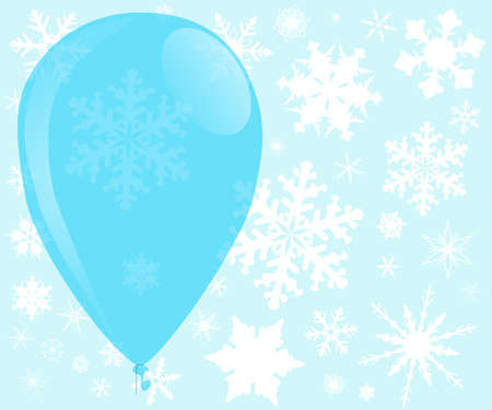 escaping: A large blue balloon surounded with falling snowflakes