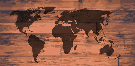 floorboards: World Atlas outline map brand on wooden board