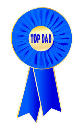 arbitration: A rosette with the words top dad the centre