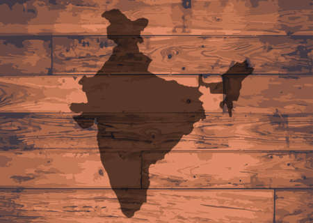 floorboards: India outline map brand on wooden board